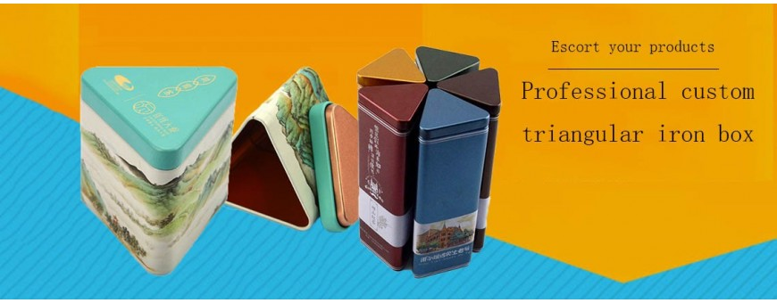 Wholesale food grade triangular tin boxes of various sizes and colors