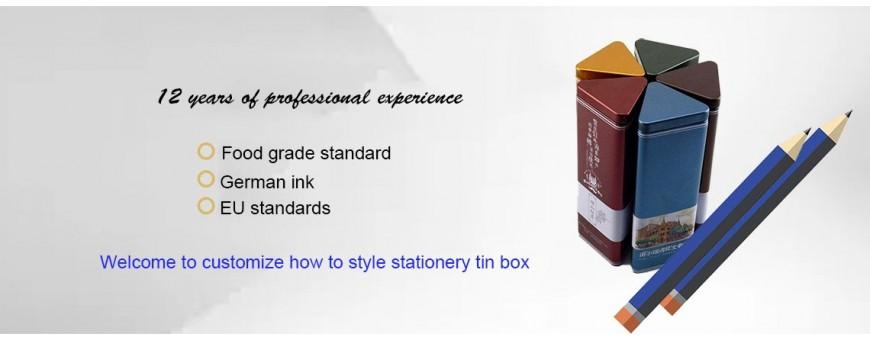 Vente en gros personnalisée de diverses boîtes en étain de papeterie de forme