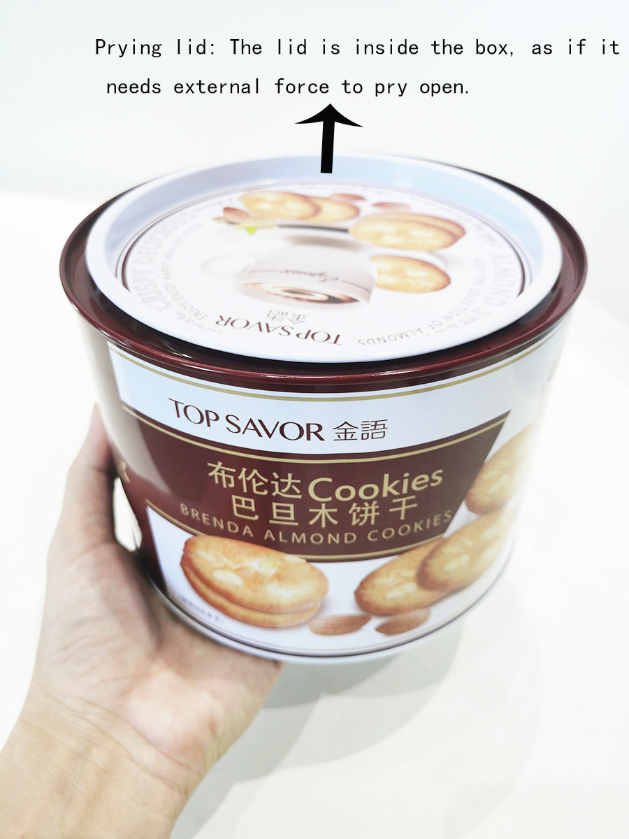 Customized round biscuit tin with pry lid