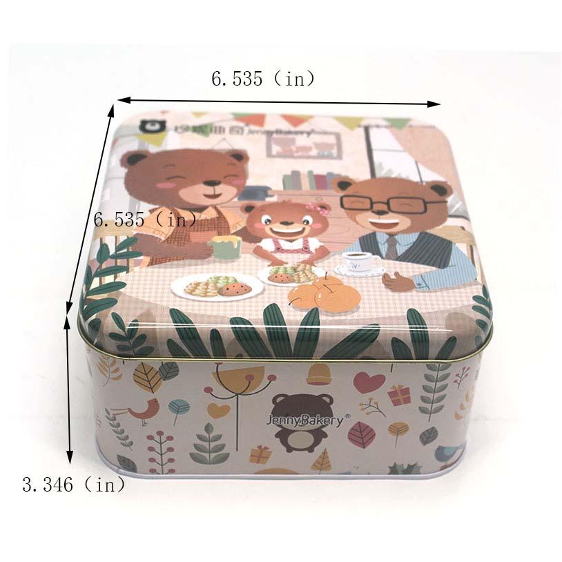 Cake metal packaging tin box size