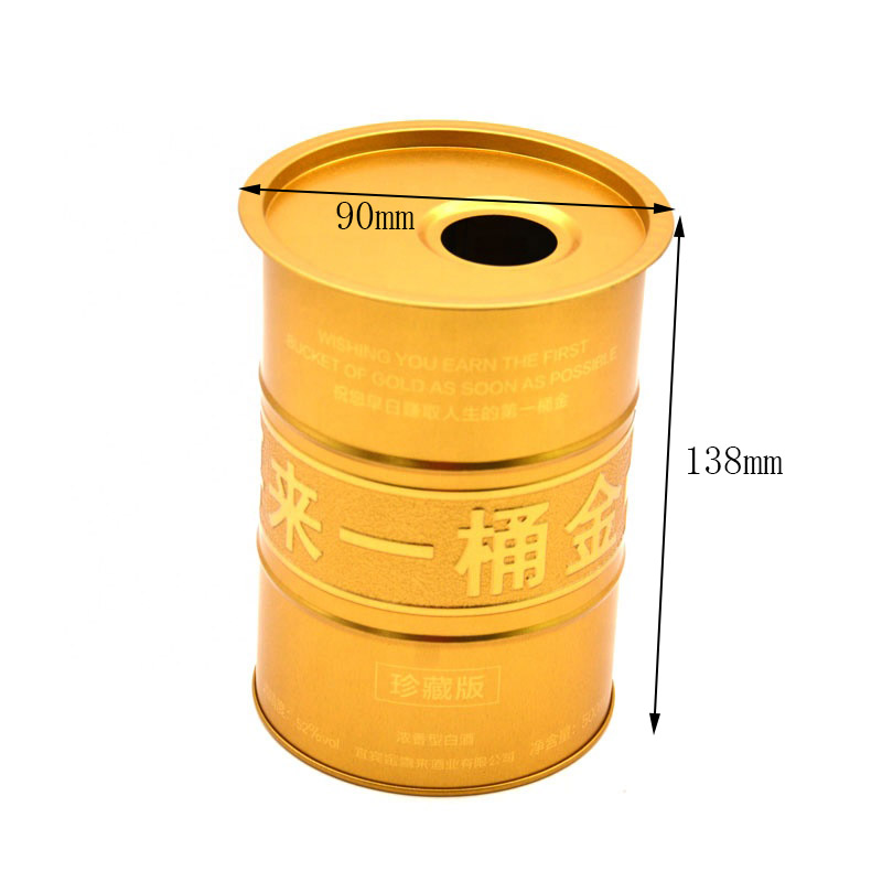 Customized round metal wine can size