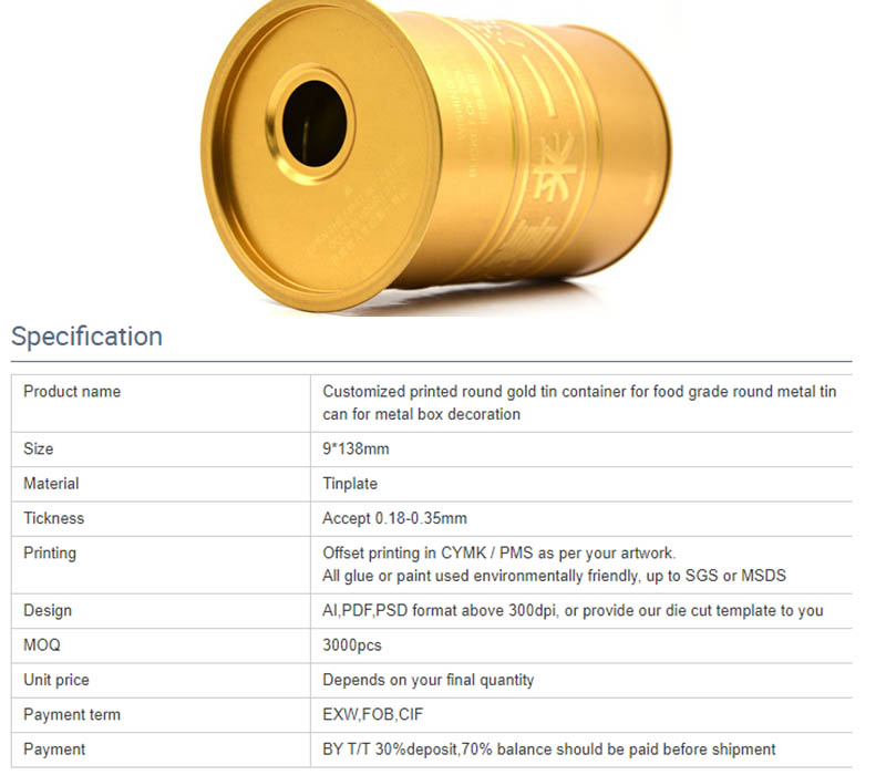 Parameters of round metal wine tank