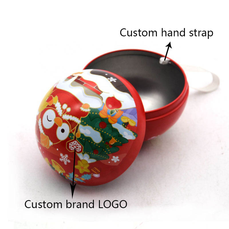Custom Christmas Ball Gift Tin Box