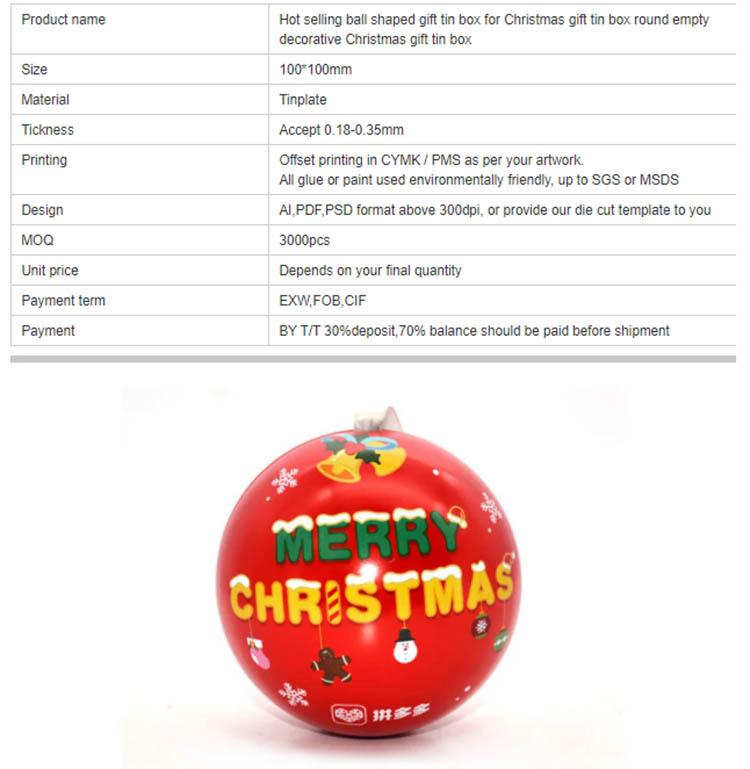 Customized Christmas Ball Gift Tin Box Parameters