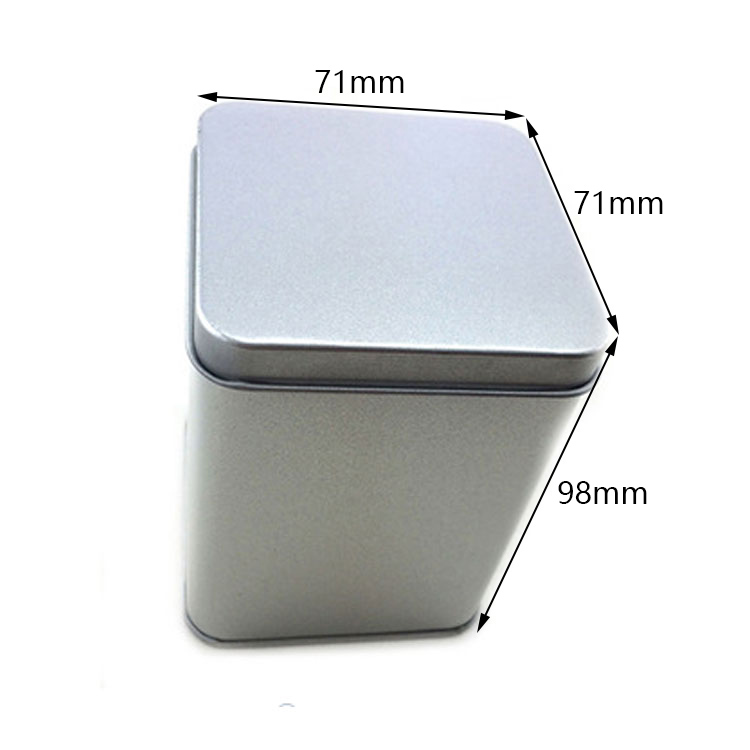 Custom silver square tin can size