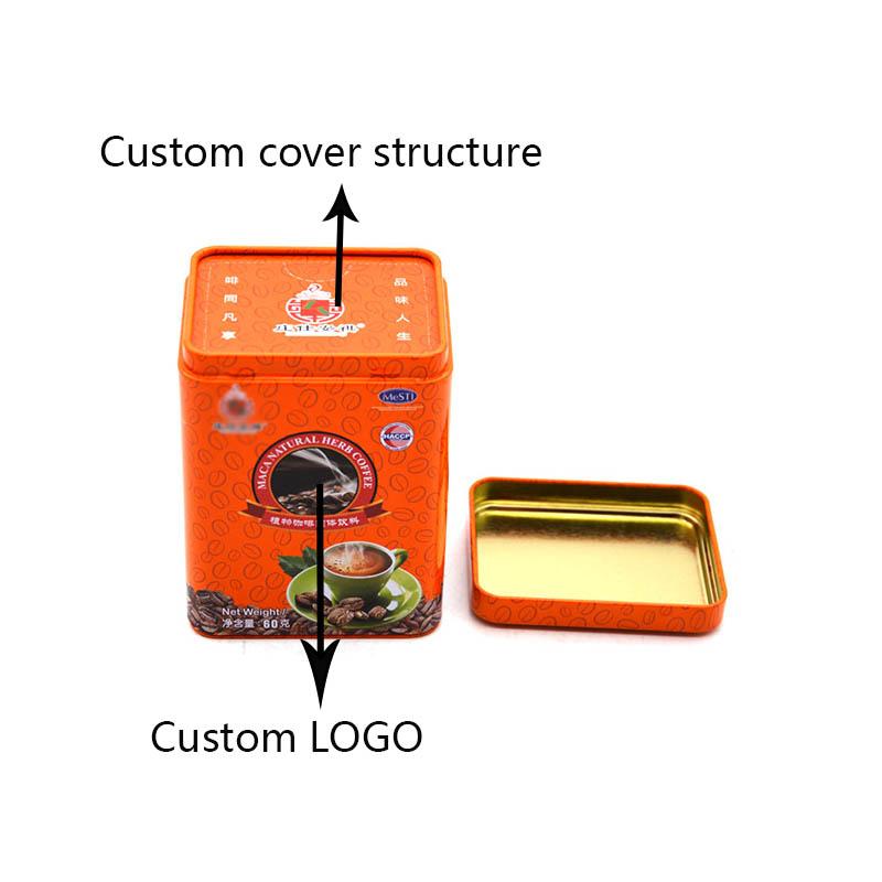 Custom rectangular orange coffee tin can