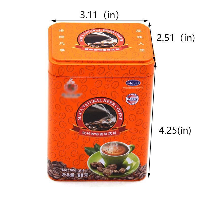 Customized rectangular orange coffee tin can size