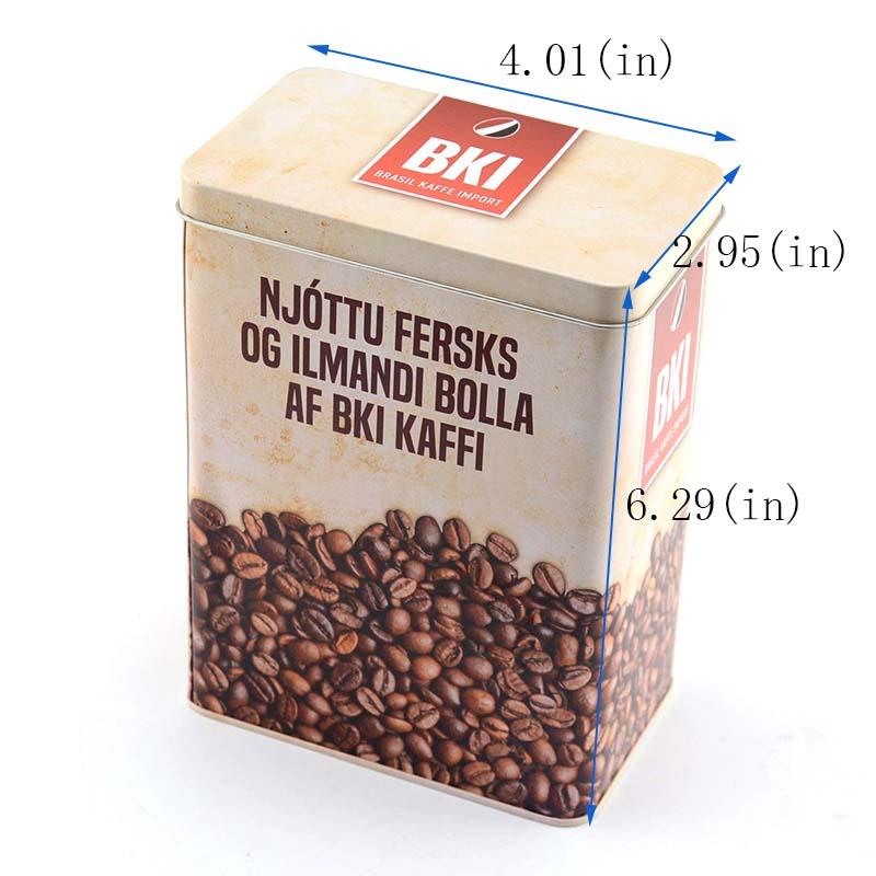 Rectangular coffee tin box customization