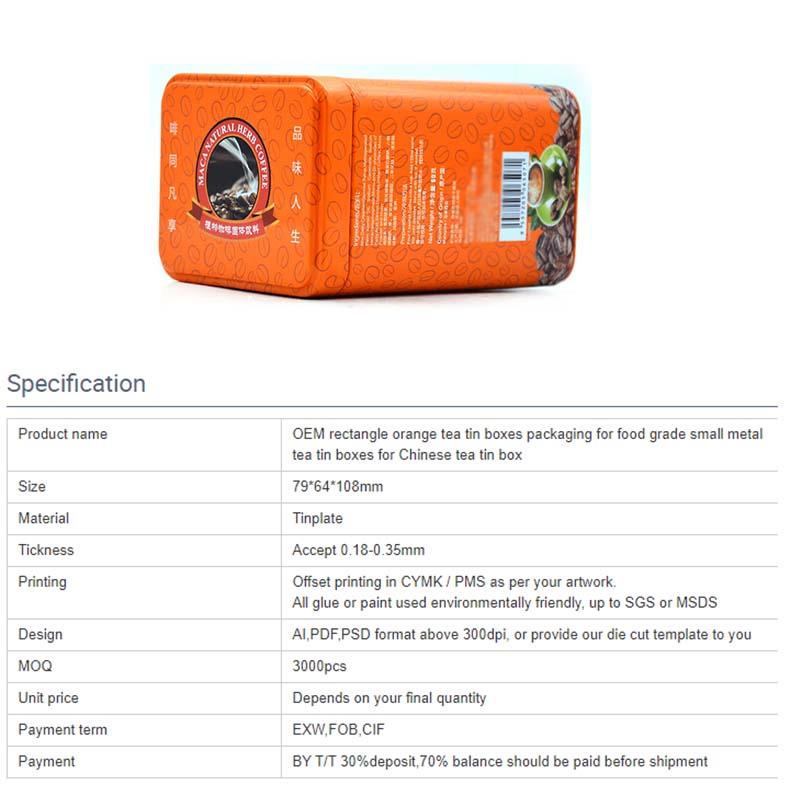 Wholesale rectangular orange coffee tin can parameters