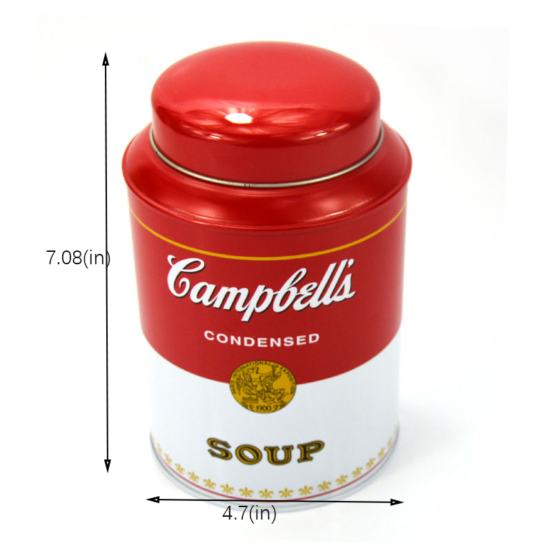 Customized round coffee tin can size