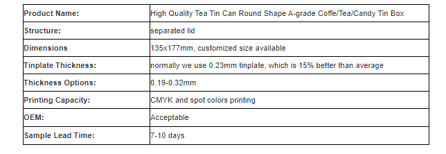 Parameters of high quality round coffee tin can