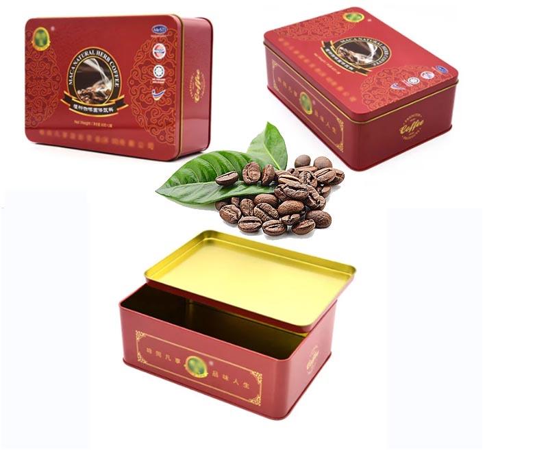 Custom red square coffee tin box series