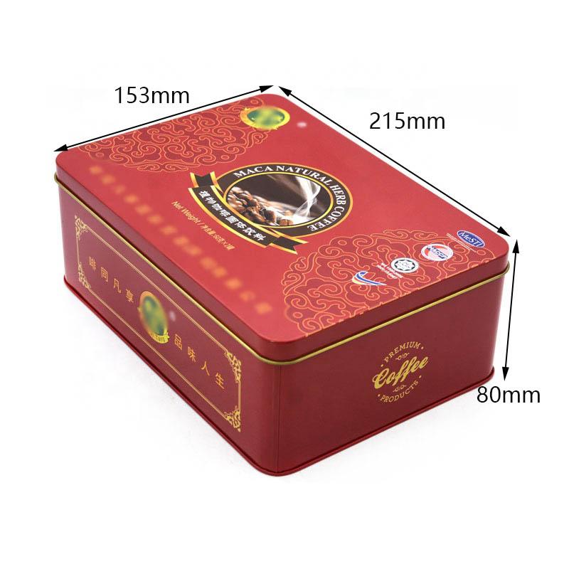 Custom red square coffee tin box size