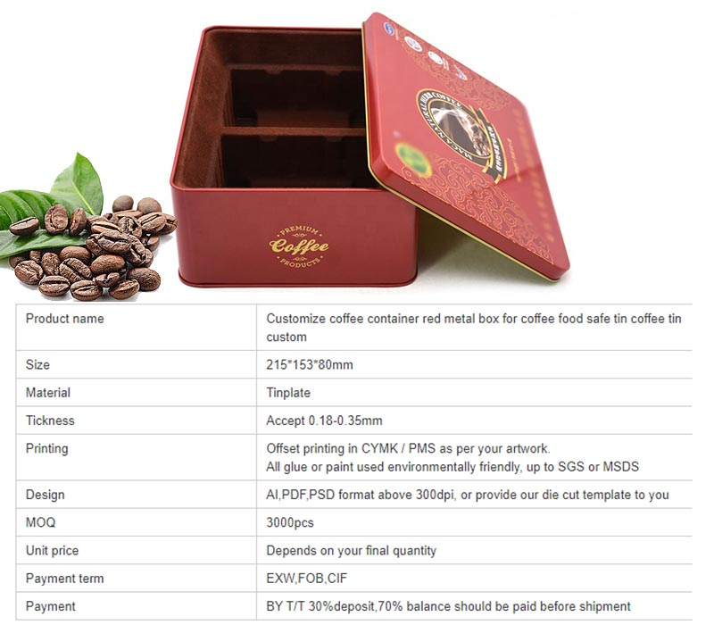 Specifications of red square coffee tin box