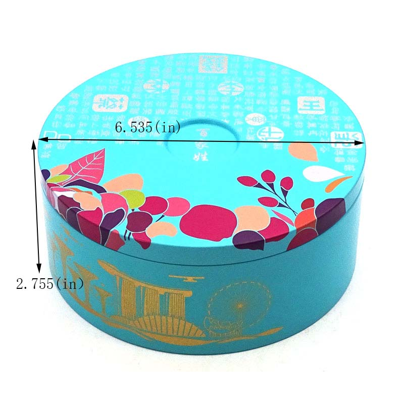 Custom printed round biscuit tin can size