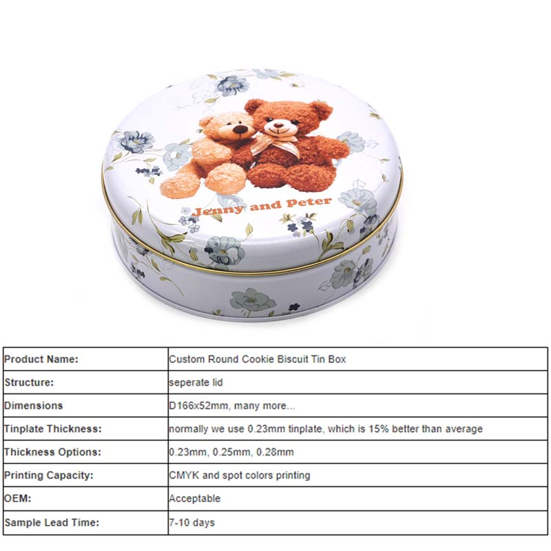 Parameter table of round bear biscuit tin box