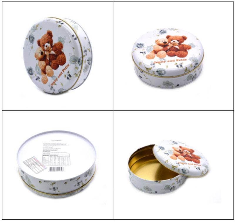 Printed round bear biscuit tin box series