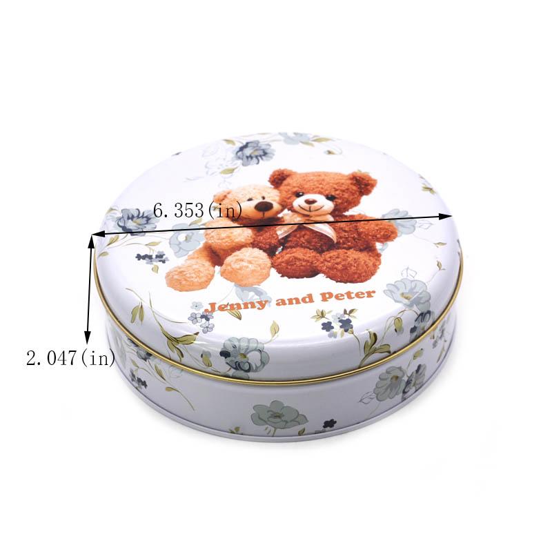 Round Bear Biscuit Tin Box Size
