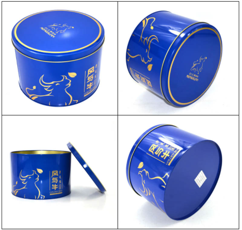 gift blue tin can cookies