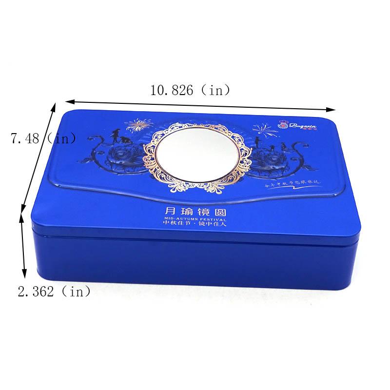 Custom printed rectangular biscuit tin box size