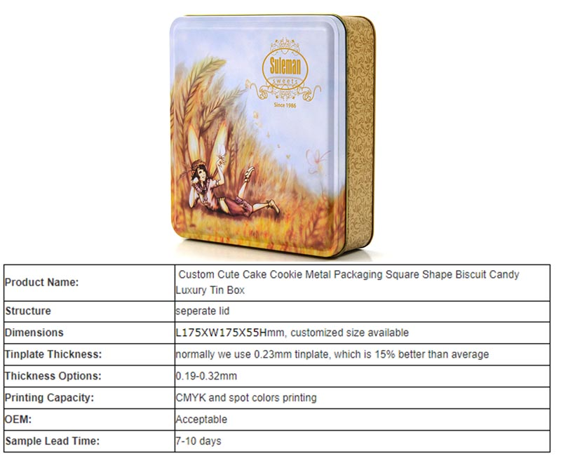 Customized Oatmeal Biscuit Tin Specification