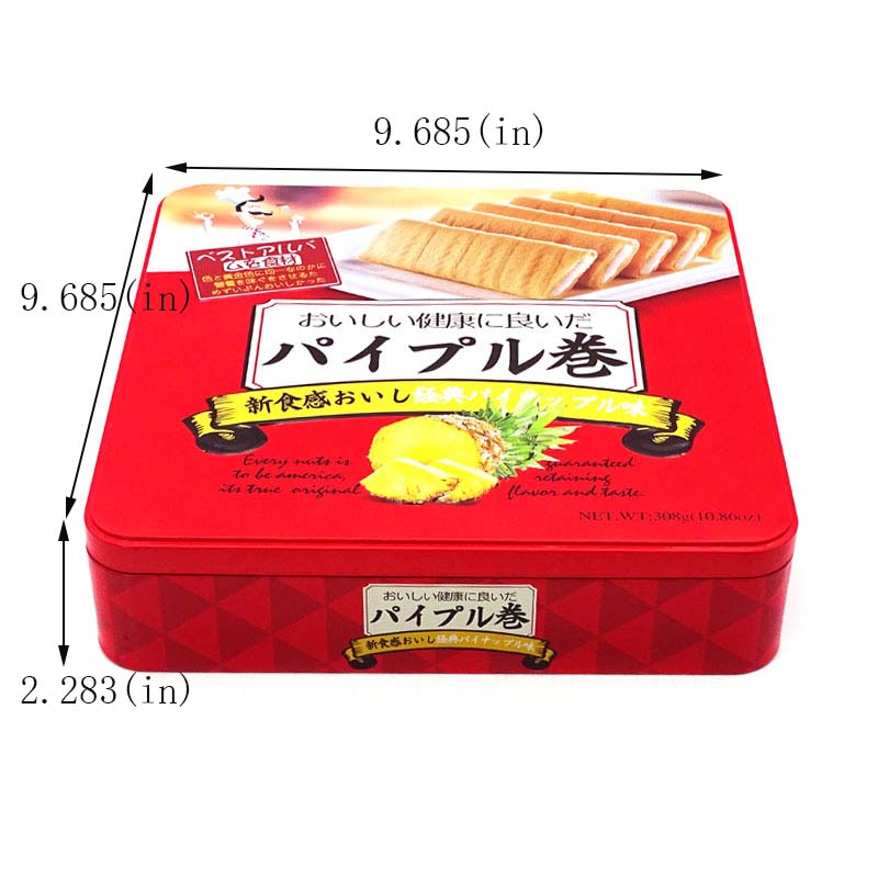 Customized biscuit roll packaging tin box size