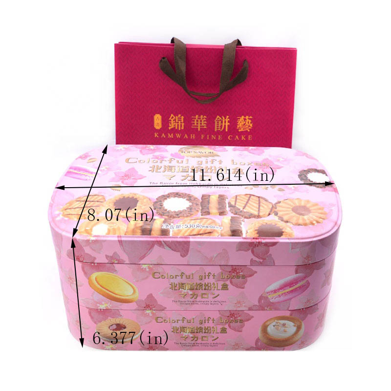 Customized double-layer colorful gift biscuit tin box size