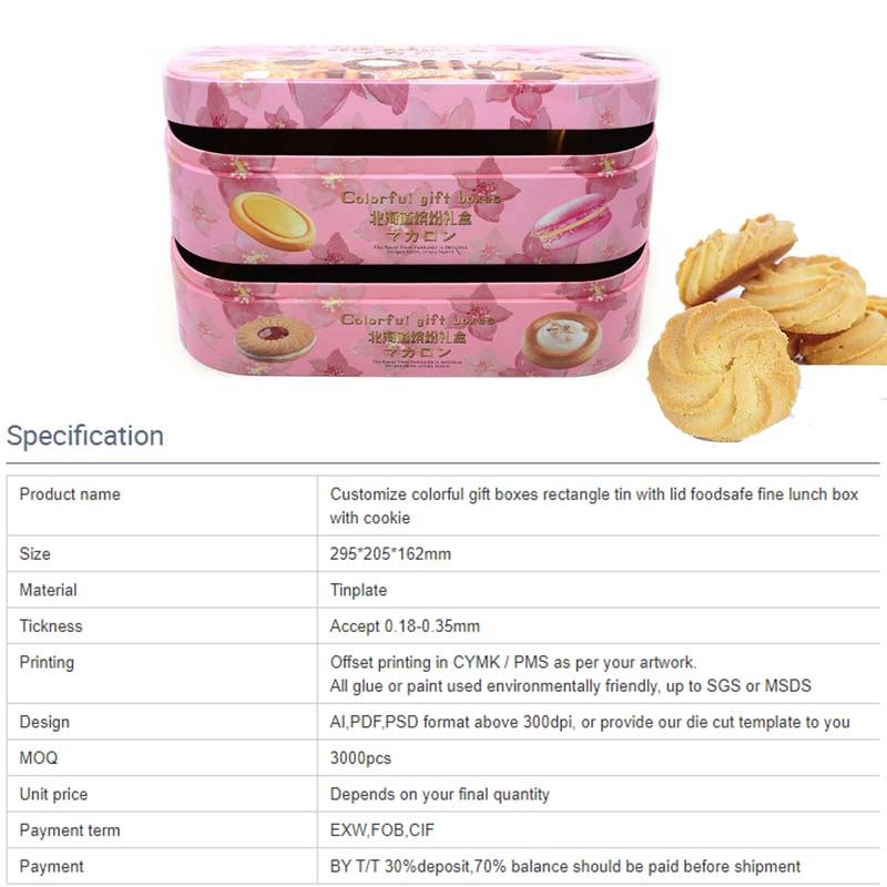 Customized double-layer colorful gift biscuit tin box specifications