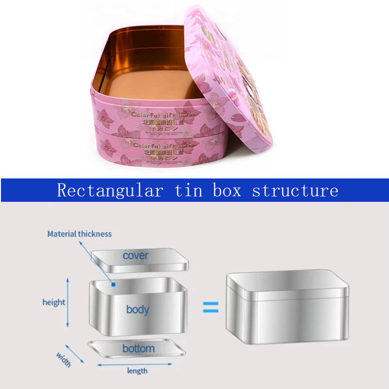Rectangular colorful gift biscuit tin box structure