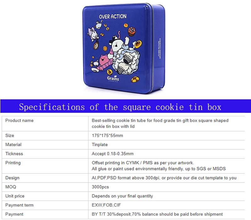 Square cookie gift tin box parameters