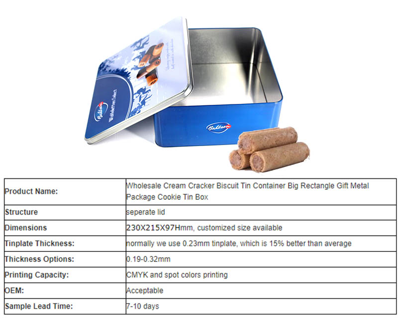 Wholesale butter biscuit tin box parameters