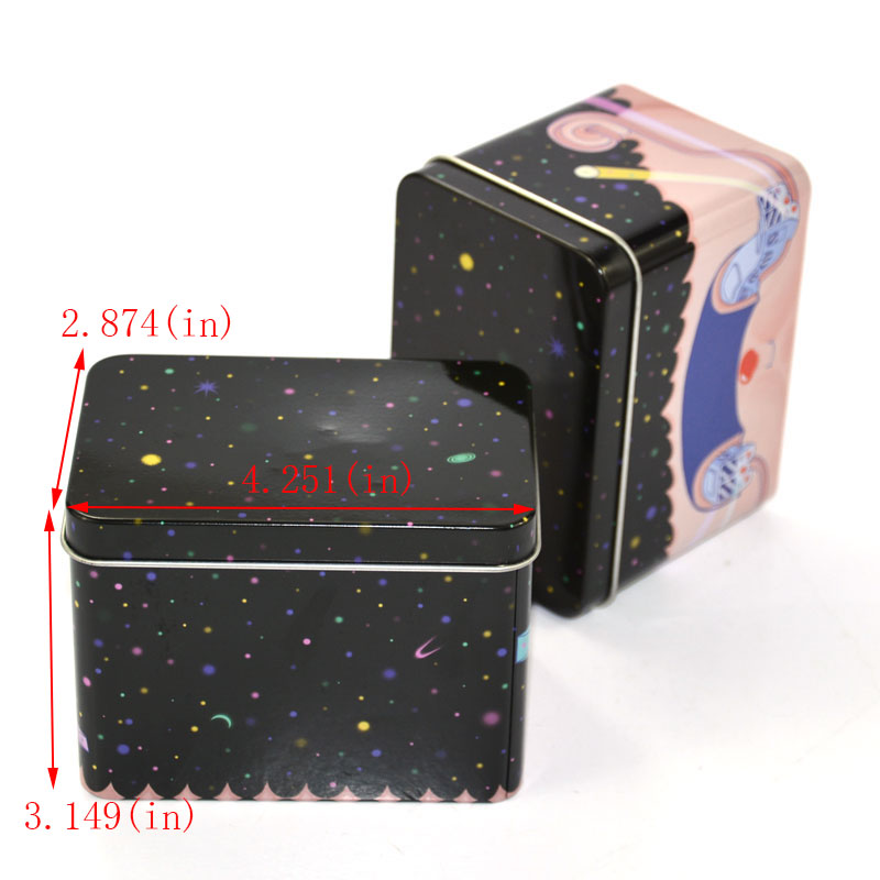 Pink cosmetic metal box size
