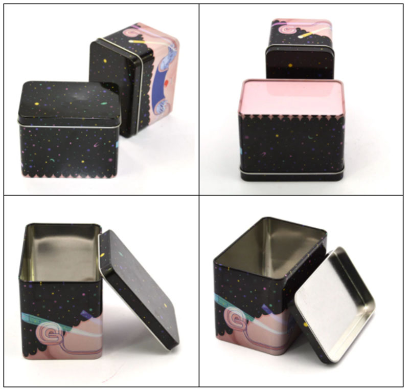 Square pink cosmetic metal box series