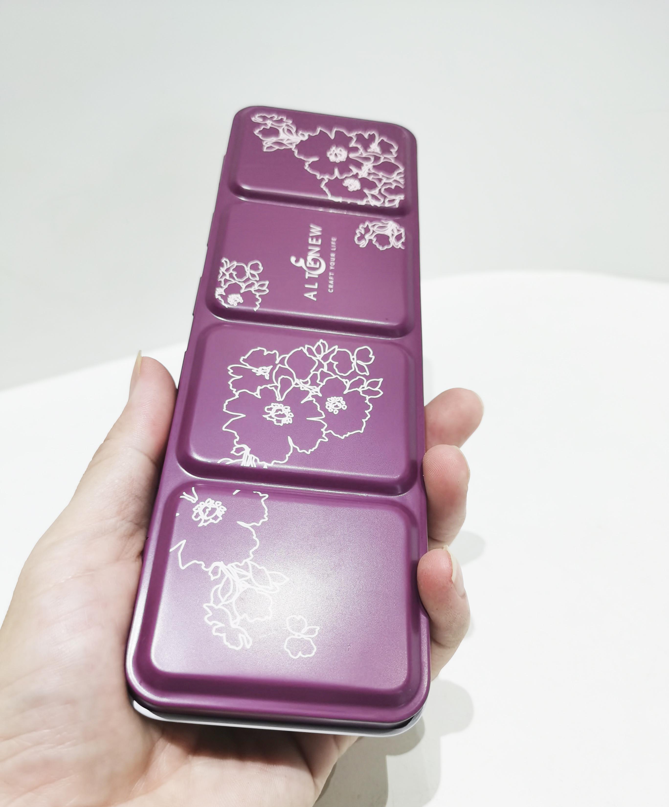 Purple portable 36 color palette tin box