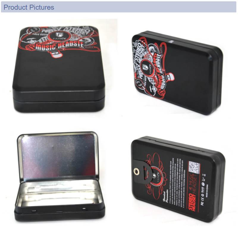 Black printed earphone packaging tin box series