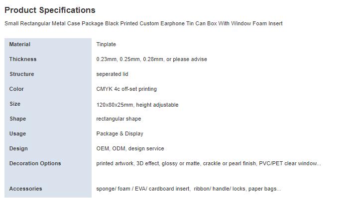 Black printed earphone packaging tin box parameters