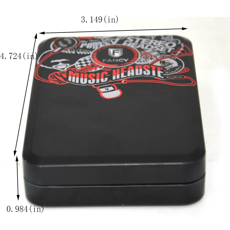 Black printed earphone packaging tin box size