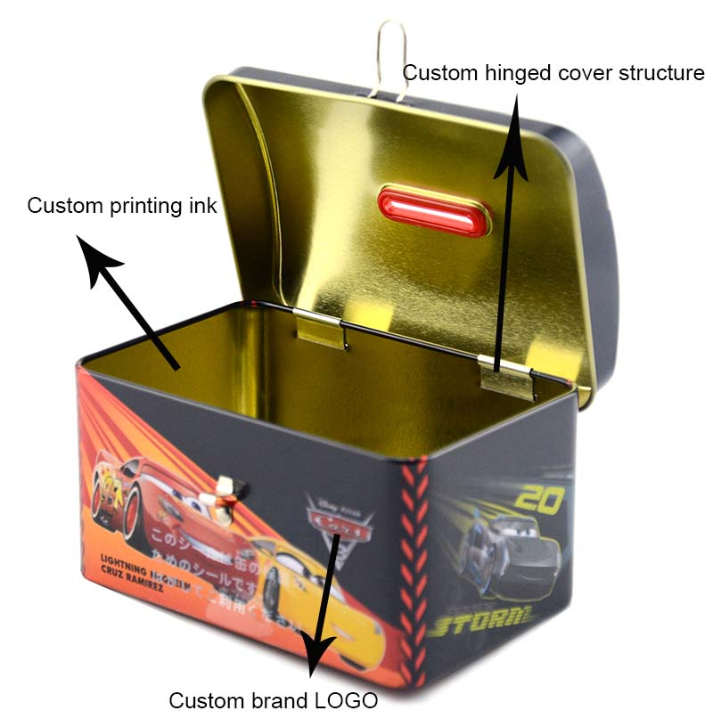 Customized toy car tin box with hinged lid and lock