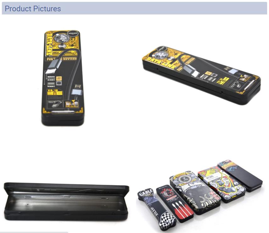 Fashion USB charging cable tin box series