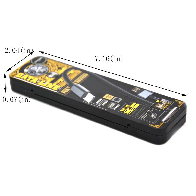 Fashionable USB charging cable tin box size