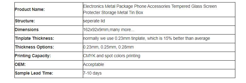 Mobile phone accessories storage tin box specifications