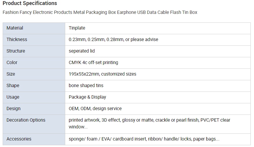 Printed USB data cable tin box parameters