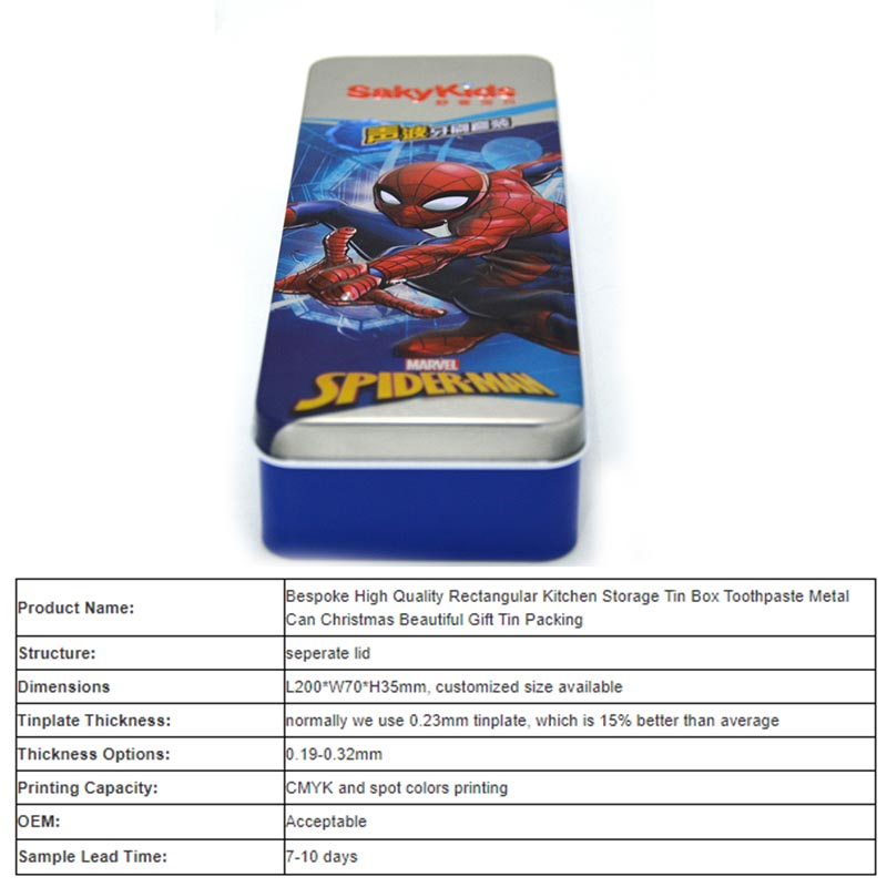 Spiderman rectangular storage tin box parameters