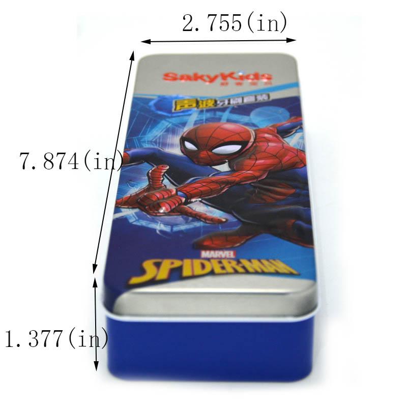 Spiderman rectangular storage tin box size