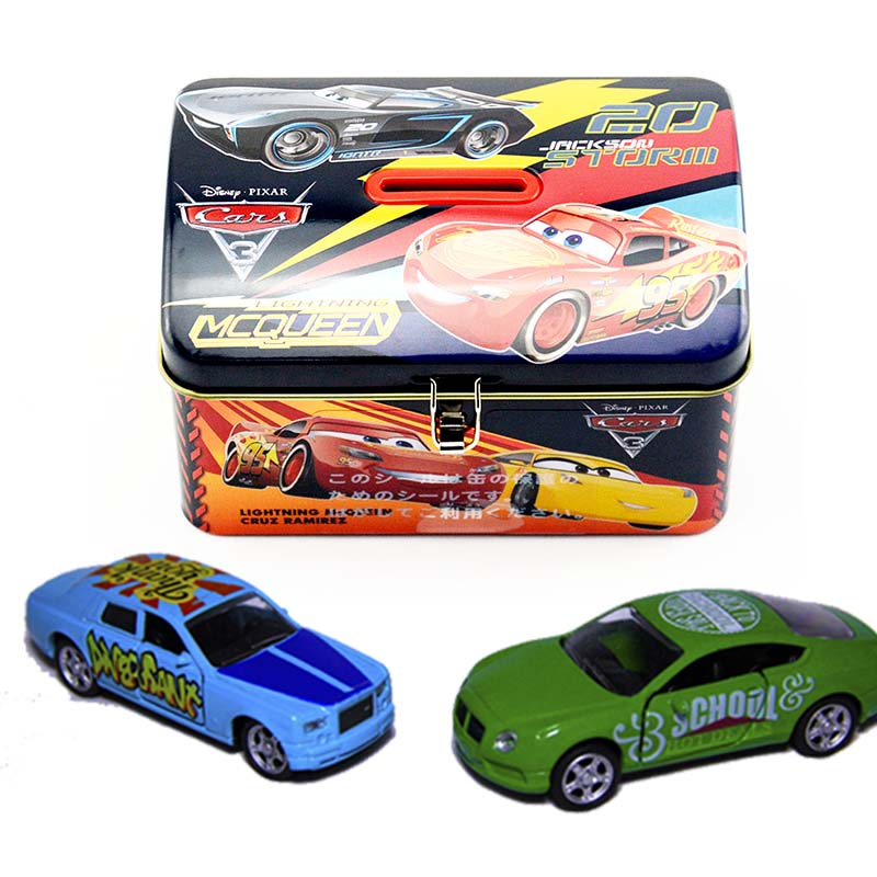 Wholesale toy car tin box with hinged lid and lock