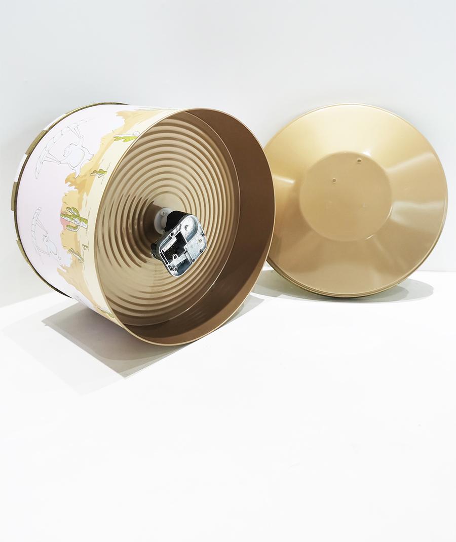 Supplier of big round melody music tin box