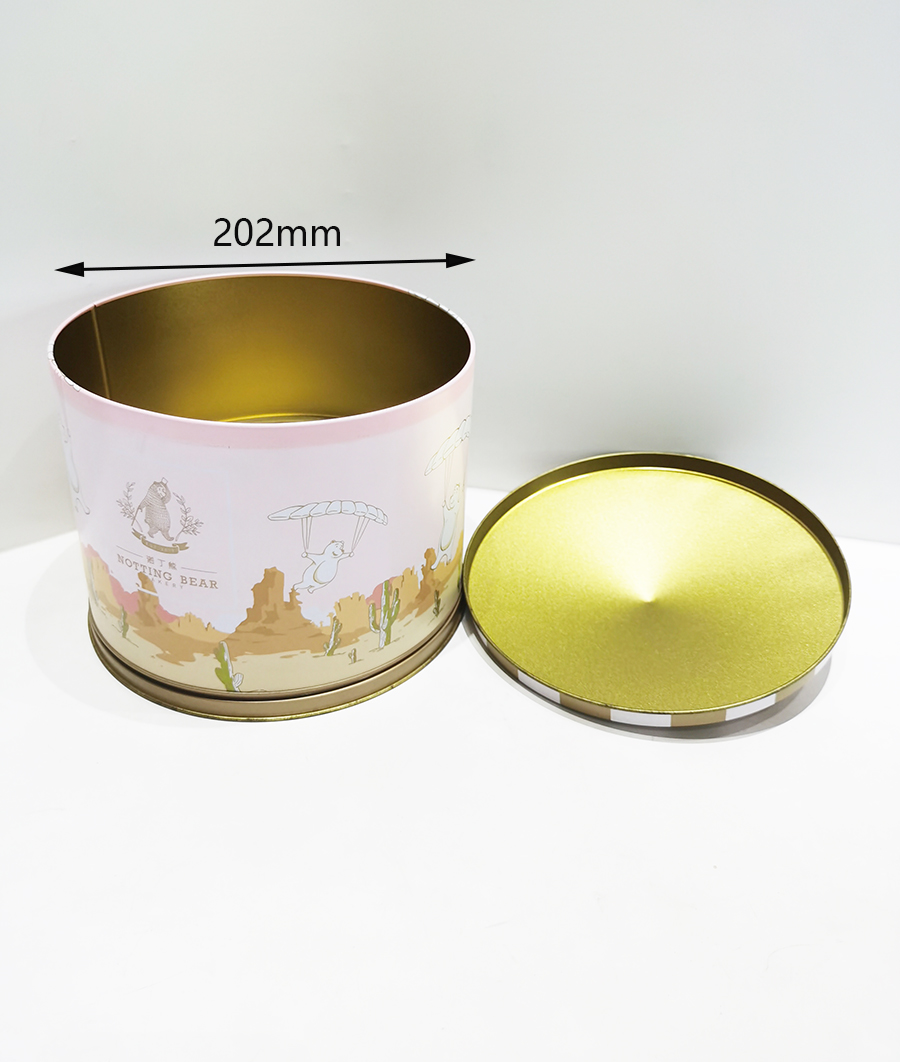 Customized big round melody music tin box