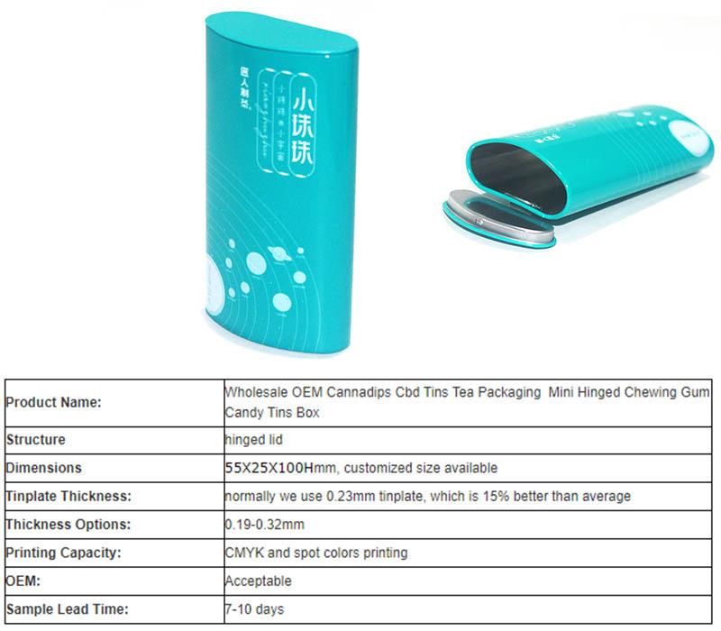 Blue hinge lid candy tin box parameters