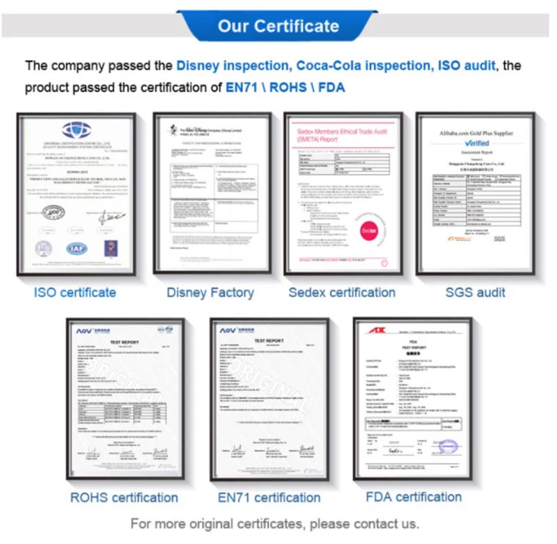 Candy Tin Box Factory Qualification Certificate