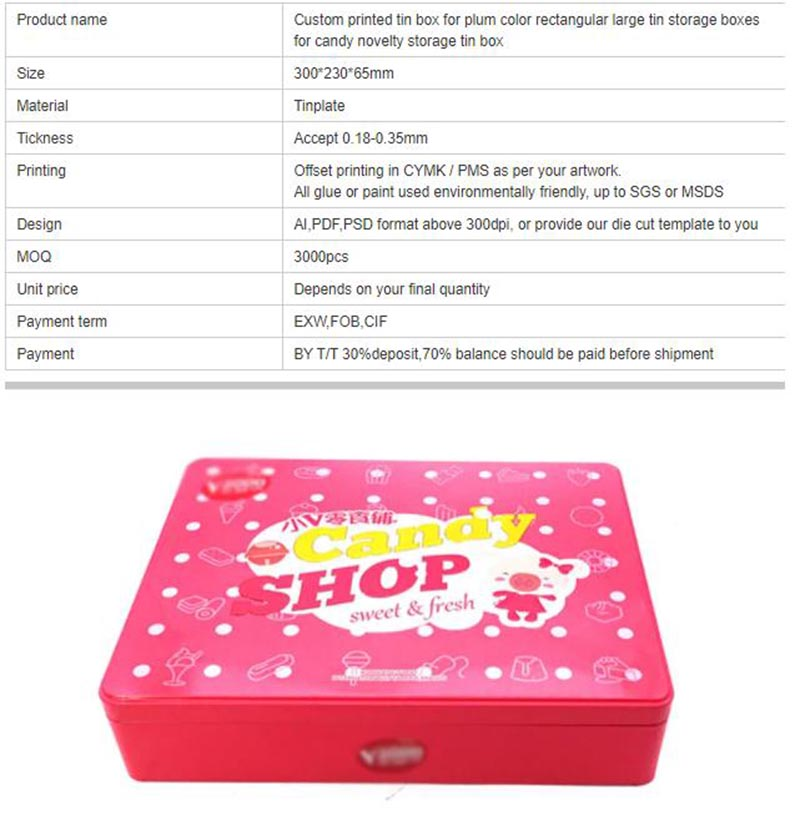 Children's gift candy tin box parameters